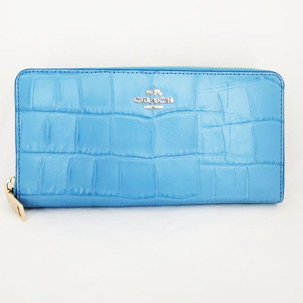 【中古】COACH(コーチ) F53836 アコーディオン ジップ ウォレット クロコ型押し レザー 長財布 ブルージェイ/上品なクロコ調の型押しレザーがお洒落な長財布です。シンプルながらも洗練されたデザインが大人の女性にもぴったりです。/新品同様・極美品・美品の中古ブランドバッグを格安で提供いたします。/¥16,800