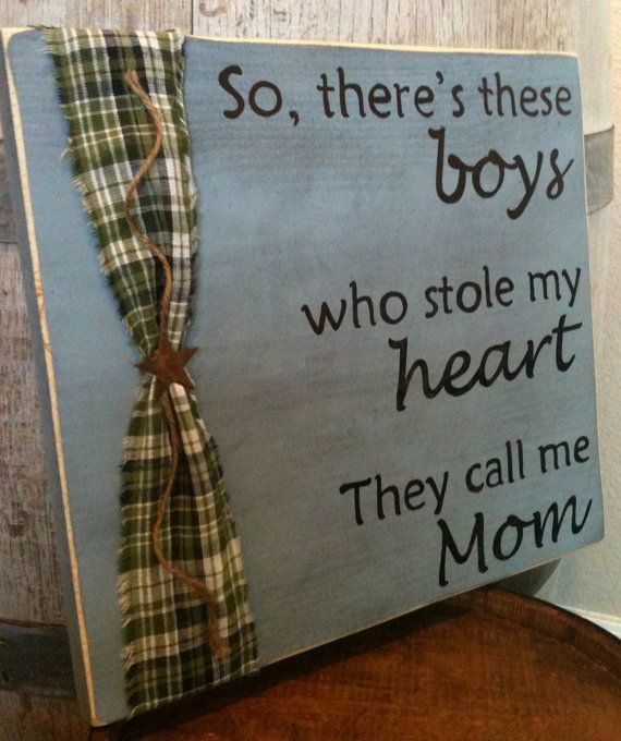 Mama's Boy's Primitive Wood Sign