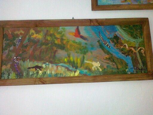 Taka tam sobie dzungla. Obraz Michala i Anetki. Na wakacjach mozna rozne kwiatki zmalowac, oni woleli zwierzaki.