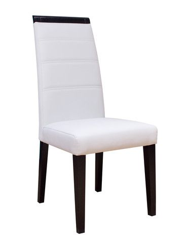 The Varadero Chair utilizes wood and bonded leather in this simple, contemporary design. The tall, slightly curved and padded back is very comfortable for entertaining. Available in two finishes, wenge and white lacquer, this dining chair is further detailed with horizontal stitching on the seat back and curved wood top to finish this stunning chair. The back of the chair has no stitches. This chair can match any of our dining room tables.