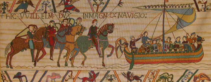 William Embarks in Normandy to sail to England. This scene from the Bayeux Tapestry is woven in France today, with or without a border.