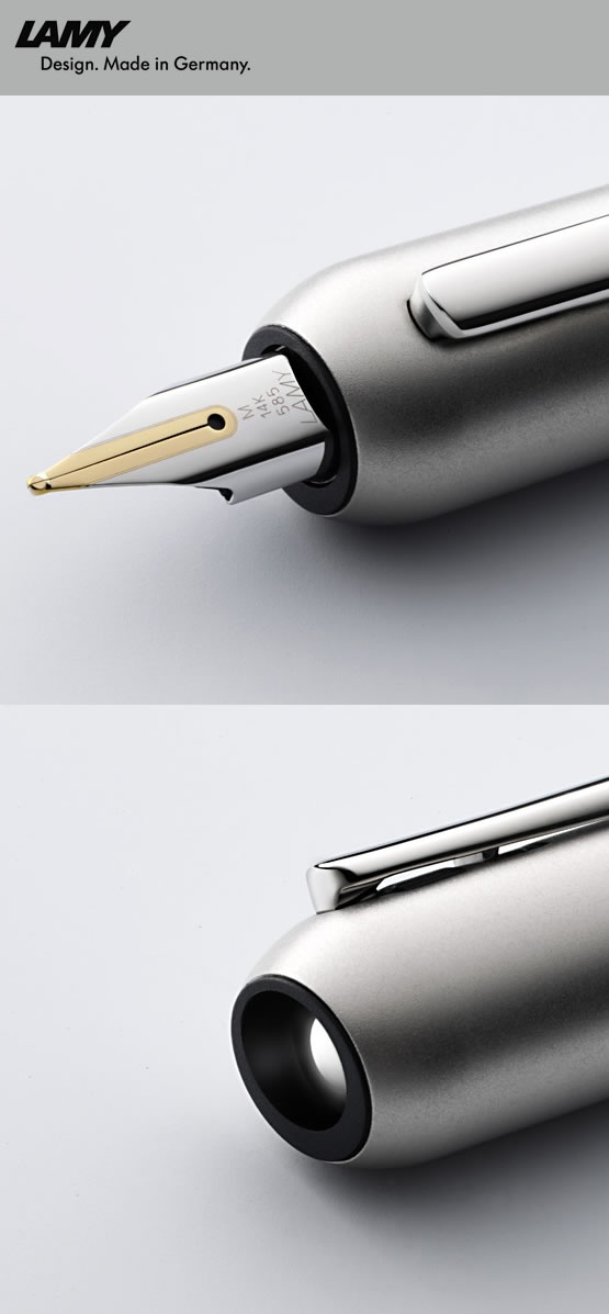 2009: LAMY dialog 3 – Lamy meets Franco Clivio The LAMY dialog 3 is an avant-garde twist-action fountain pen with a palladium finish, whose rhodinised 14-carat gold nib retracts with a gentle turn of the barrel.
