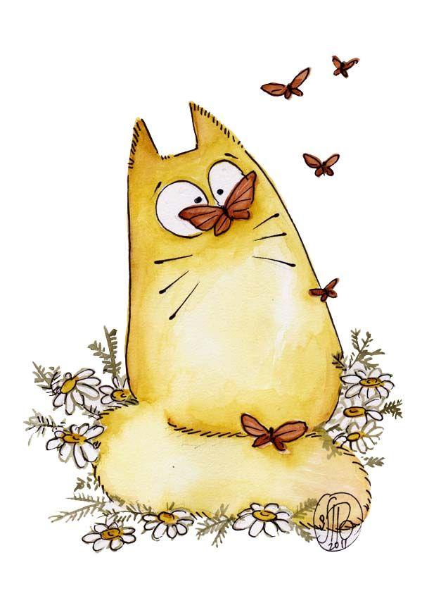 Прикольные картинки нарисовать котика, днем