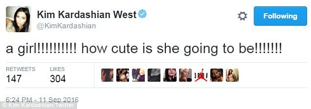 Social media: Kim Kardashian took to Twitter to comment on Rob and Chyna expecting a girl