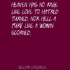 Heaven has no rage like love to hatred turned, .. By William Congreve