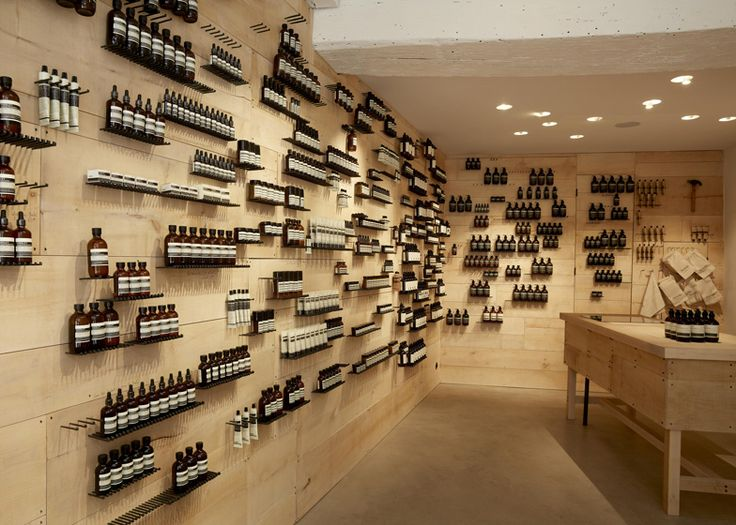 Iron nails driven into the wall for shelving, Aesop Tiquetonne by Ciguë
