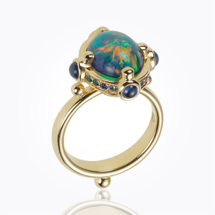 Temple St Clair 18K Magna Ring with black opal, mixed sapphire and diamond, USD 150,000