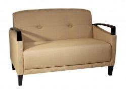 Main Street Loveseat with Espresso Accents. Woven Wheat Fabric $309.85