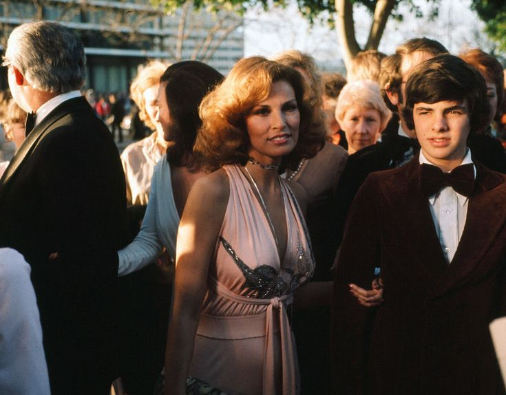 Actress Raquel Welch and son Damon Welch arrive to the 46th Academy Awards