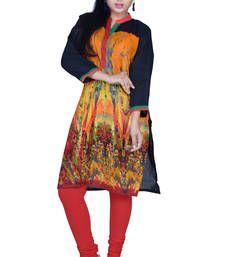 Buy Coral Orange and Maize Yellow Cotton Printed Casual Kurti. kurtas-and-kurti online