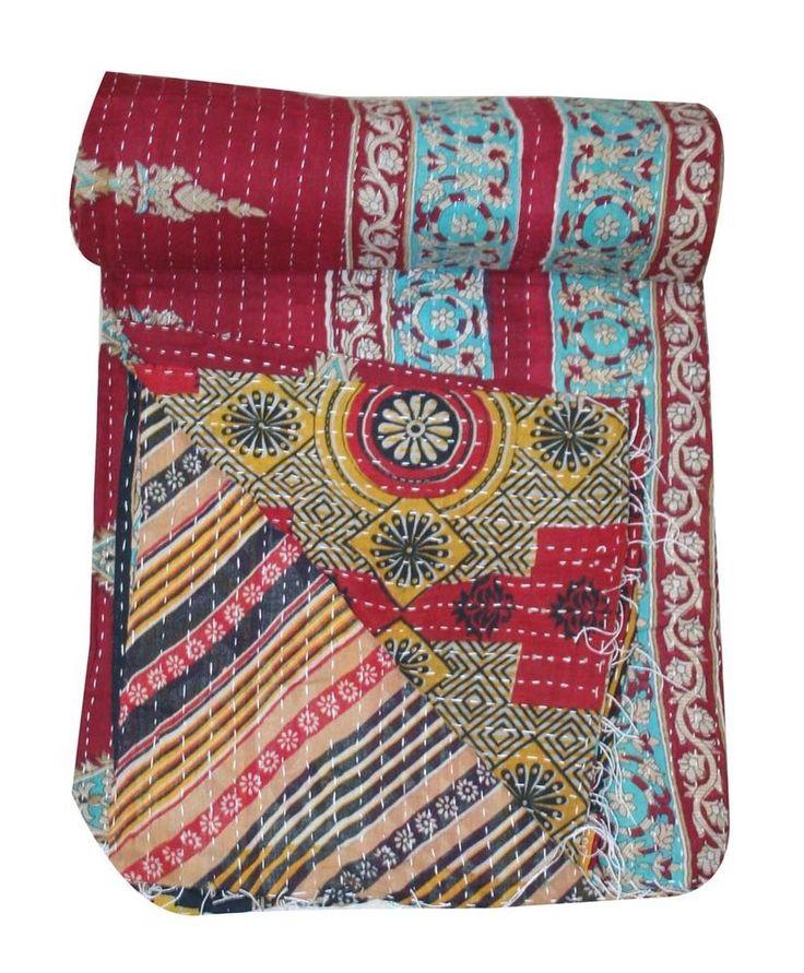 Vintage Kantha Quilt Gudri Reversible Throw Ralli Bedspread Bedding Bedding  #Unbranded #ArtDecoStyle