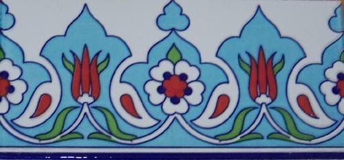 "Turkish Light Blue 50 4""x8"" 10cmx20cm Iznik Ceramic Red Tulip Tile Border | eBay"