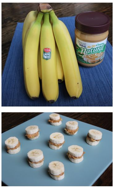 Frozen Banana Peanut Butter Bites. 3 medium ripe bananas, 1/4 cup Great Value natural creamy peanut butter. Only $0.37 per serving, great high energy snack for summer! Peel one banana. Use half peeled banana and mix with peanut butter. Set aside. Peel other 2 bananas and cut into 1/2 inch slices. Put mixture on banana and then add other half to make banana sandwiches. #client