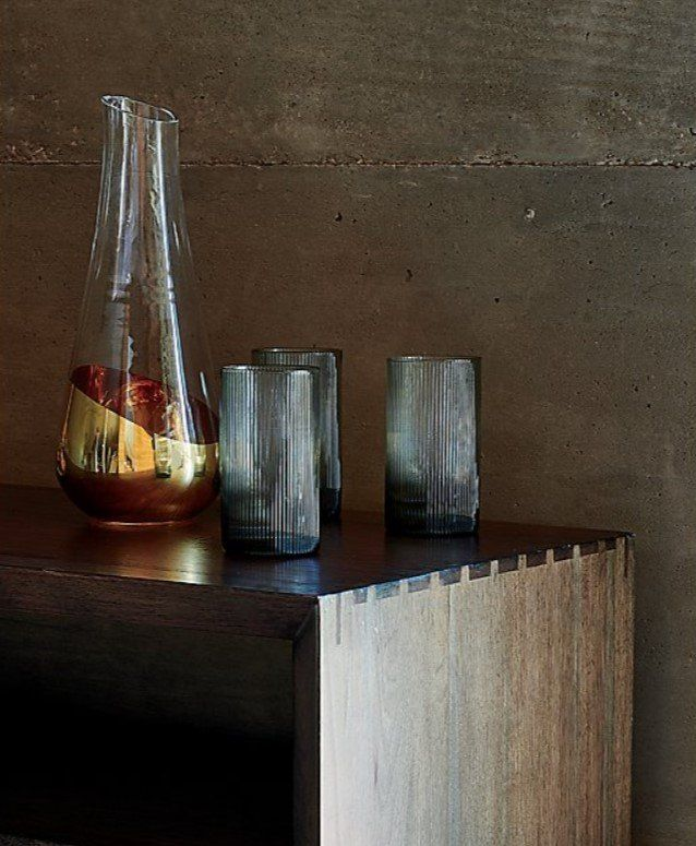 Channel Grey Glasses Crate And Barrel In 2020 Old Fashioned Glass Wine Carafe Glass Barware
