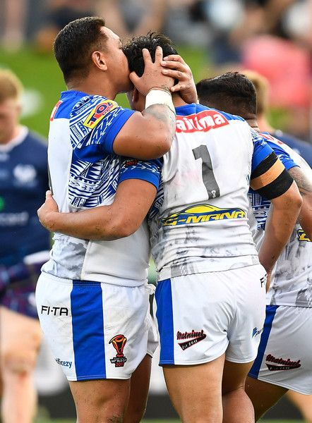 Young Tonumaipea #1 of Samoa and Canberra Raiders Josh Papalii of Samoa during the 2017 Rugby League World Cup match between Samoa and Scotland at Barlow Park on November 11, 2017 in Cairns, Australia.