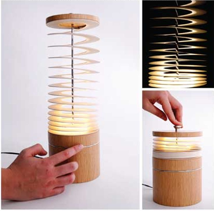 Unique Curly Sue Spiral Desk Lamp Design with a bamboo shaped spring