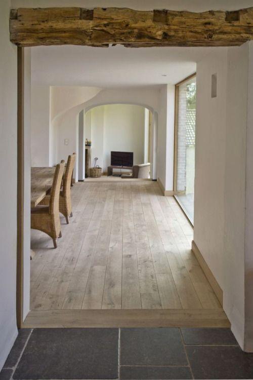 SABON HOME-I love these three color combinations tanwood,teddy bear  brown, and slate gray. Dat is het precies, mooi met die balk, witte muren en lichte houten vloer.
