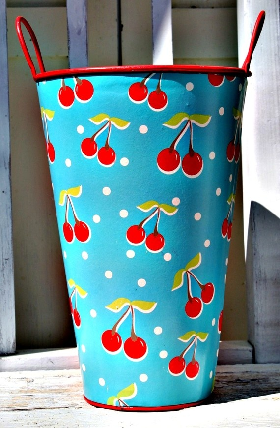 Vintage Aqua and Red Bucket with Cherries by ladygreenjeans, $8.00