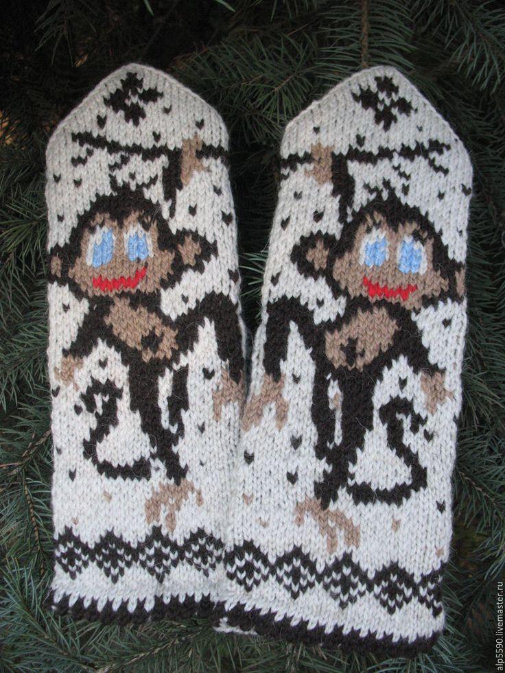 Купить Варежки Обезьянка - варежки, варежки женские, варежки ручной работы, варежки вязаные