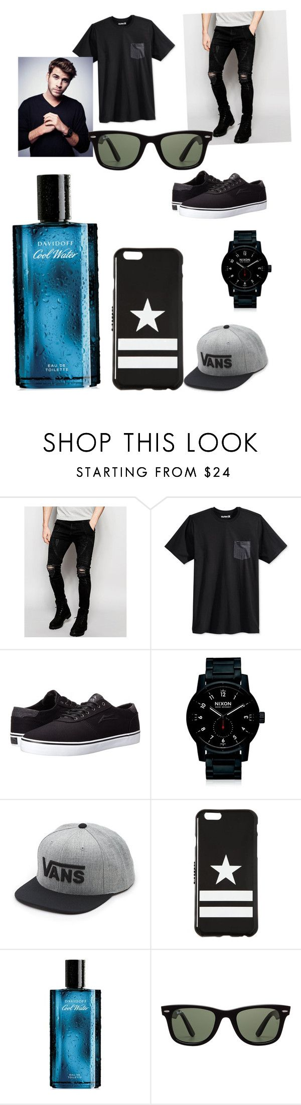 """•Ben Fire•"" by benhemmings on Polyvore featuring Sik Silk, Hurley, Lakai, Nixon, Vans, Givenchy, Davidoff, Ray-Ban, men's fashion and menswear"