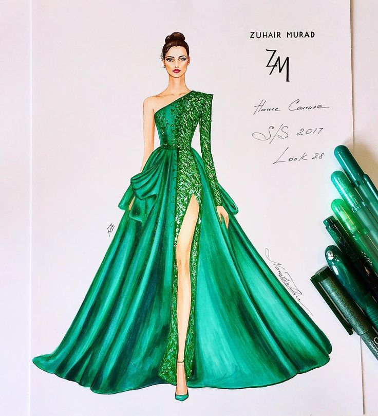 """Magnificent couture gown of the Zuhair Murad Spring Summer 2017 haute couture collection…"""" #fashion #illustration #emerald"""