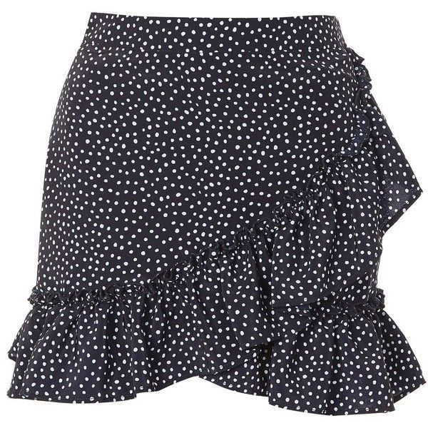 Topshop Polka Dot Frill Mini Skirt (31 BRL) ❤ liked on Polyvore featuring skirts, mini skirts, bottoms, faldas, navy blue, blue mini skirt, blue skirts, print mini skirt and ruffle hem skirt