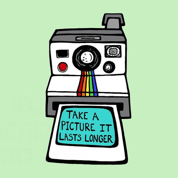 Retro Polaroid Camera  - 8 x 10 Digital Illustration Art Print - Take A Picture It Lasts Longer. $16.00, via Etsy.