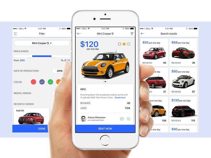 Rent a car app by Kristina Vlastjuk