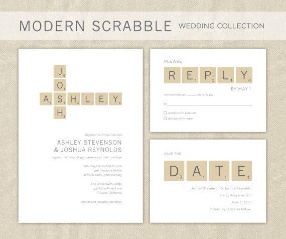 Printable Wedding Invitations: Modern Scrabble Wedding Invitation Collection Printable. $75.00, via Etsy.