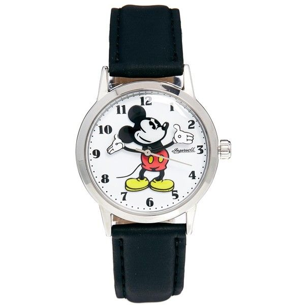 Disney Black Mickey Mouse Ingersoll Classic Watch ($73) ❤ liked on Polyvore featuring jewelry, watches, accessories, black, disney, black watches, bezel jewelry, disney jewelry and slim watches