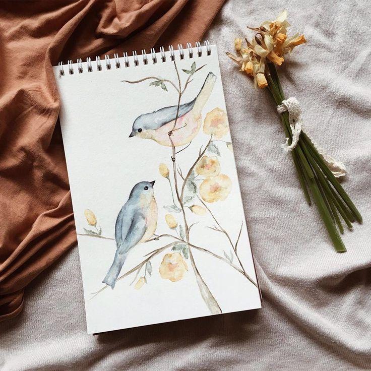 Original Birds Watercolor Painting by Picimari on Etsy https://www.etsy.com/ca/listing/519549541/original-birds-watercolor-painting