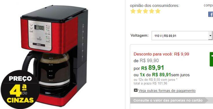Cafeteira Elétrica Oster Programável Para Até 36 Xícaras Vermelha << R$ 8991 >>
