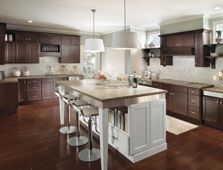 Modern Dark Wood Kitchen Cabinets With Contrasting White