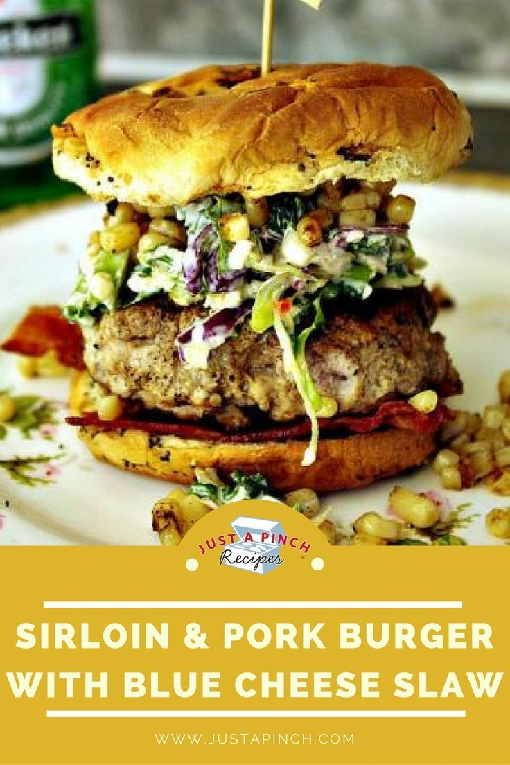 This burger has multiple elements of huge flavor - the burger itself made with both beef and pork, the blue cheese slaw and smoky corn. You'll want to make this at your next BBQ and wow your guests.