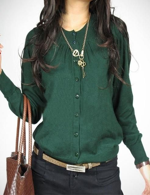 2013 women's spring sweater o-neck knitted button hot-selling ol dark green cardigan $19.02