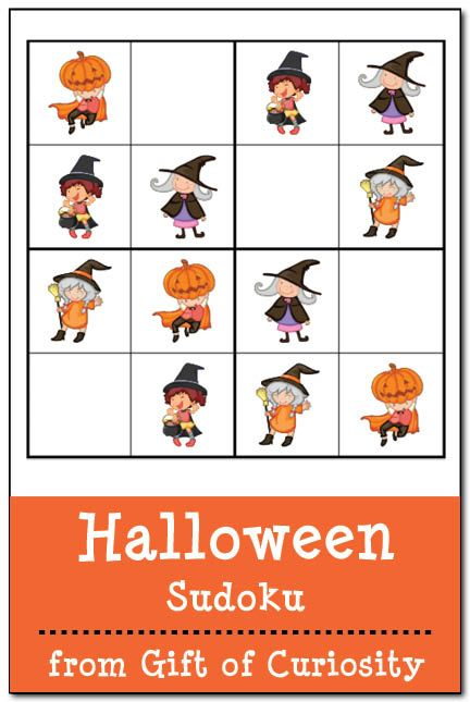 Free Halloween Sudoku printables! 3 kid-friendly Halloween Sudoku puzzles that will give your children's problem solving skills a Halloween workout! #Halloween #sudoku #freeprintables    Gift of Curiosity