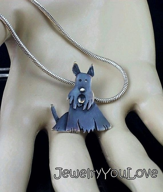 Sterling Silver Scottish Terrier Necklace  Piper by JYLbyPeekaliu