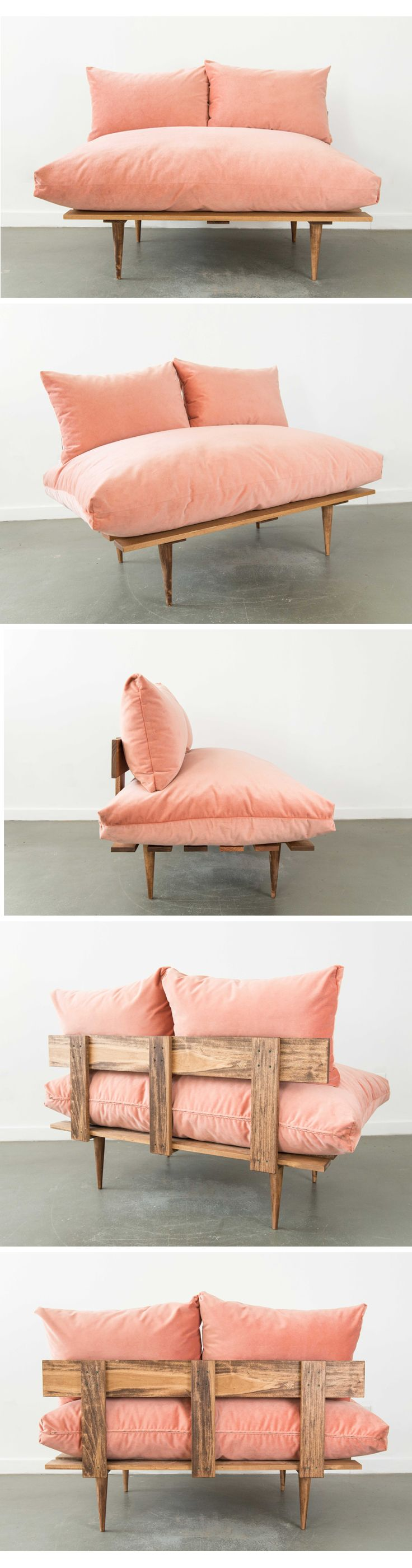 Vita Sofa: Pink Velvet. These bad boys were made in house, designed by our Corrin! They come in other colors with more on the way!!!   Patina