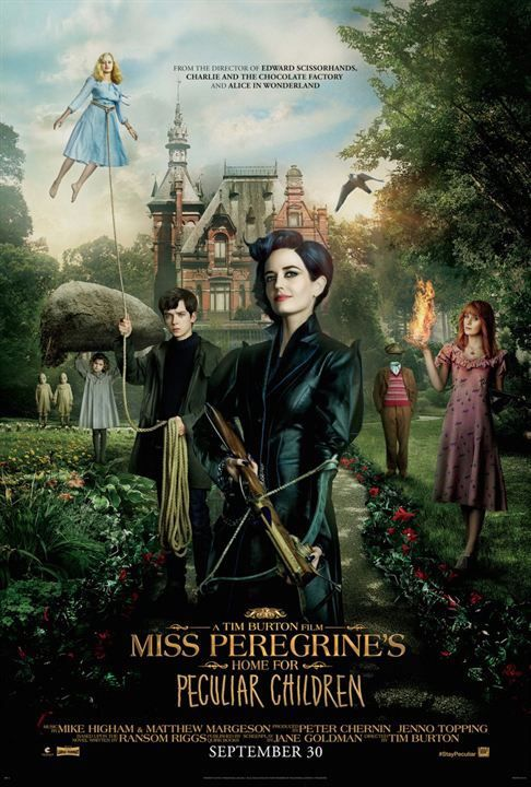 Poster to new Tim Burton´s movie Miss Peregrine's Home for Peculiar Children. Book written by Ransom Rigs.