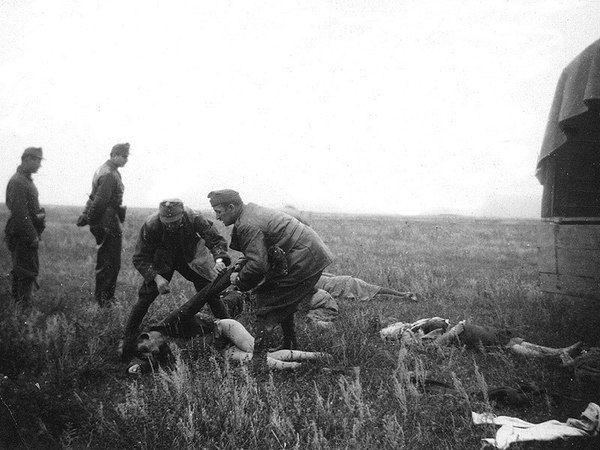 Венгры-мародеры раздевают расстрелянных советских женщин. УССР. Весна 1943 года.