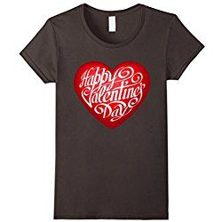 Women's Happy Valentine's Day T-shirt with Big Heart for February 14 Small Asphalt