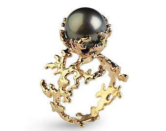 Anillo esmeralda CORAL de la perla anillo de compromiso de