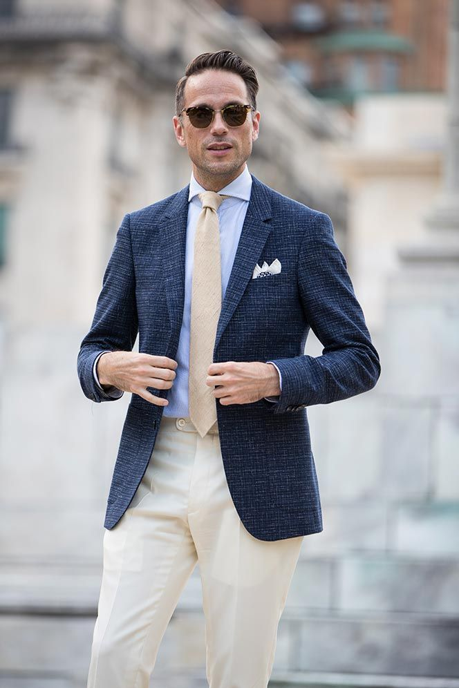 late summer wedding guest dress mens outfit idea | When a suit is too formal, turn to a strong blazer and trousers combo