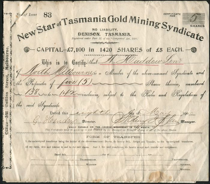 'New Star of Tasmania Gold Mining Syndicate, No Liability, Denison Tasmania..Issued to A.Haddow 8th Day of May 1900'.