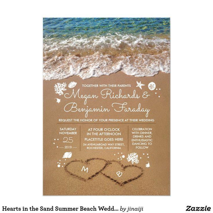 Hearts In The Sand Summer Beach Wedding Invitation Zazzle Com Summer Beach Wedding Summer Wedding Invitations Beach Wedding Invitations