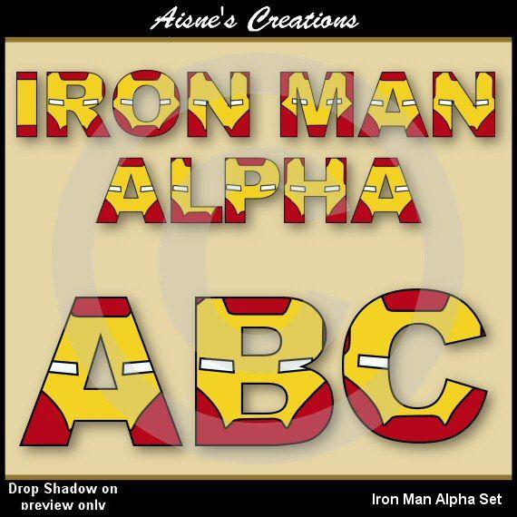 Superhero Iron Man Alphabet Clipart Set by AisnesCreations on Etsy, $3.50