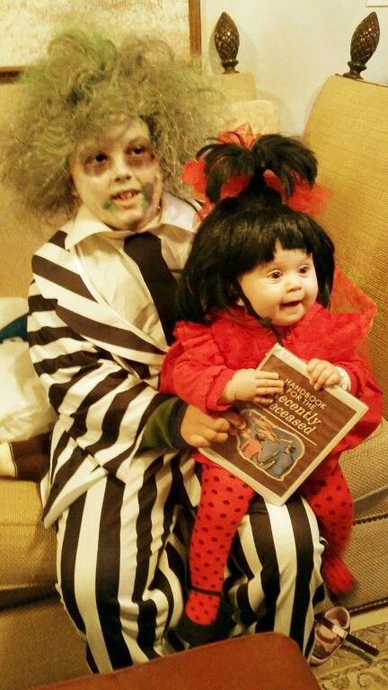 Kid Beetlejuice and Baby Lydia Halloween Costumes...