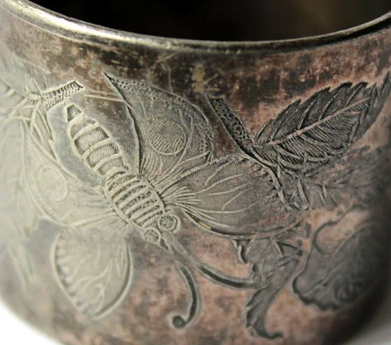 Etched Victorian Napkin Ring Tin Edwardian Antique Engraved