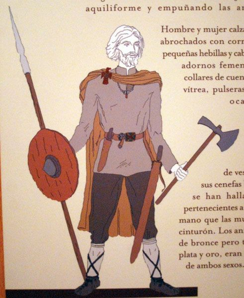 Visigoth man; about 6th century CE.  Sketch from museum exhibit in the Spanish National Archaeological Museum.