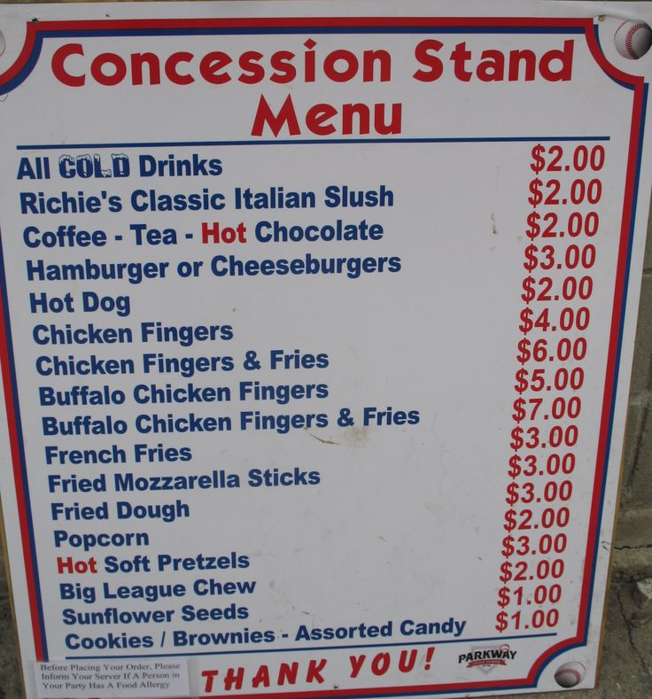 concession menu template